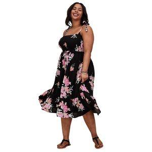 Torrid Floral Challis Tie Strap Smocked Midi Dress